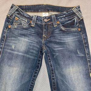 True Religion wide leg cutoffs